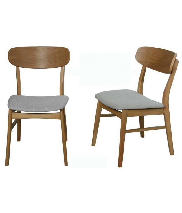 Comprar set de 2 sillas comedor tapizado gris 49 5 x 50 5 for Sillas madera tapizadas