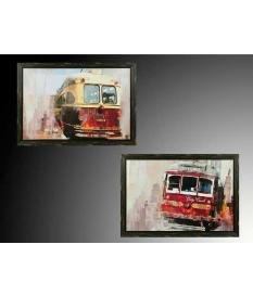 Set dos cuadros tranvía sobre madera 100 x 70 cm