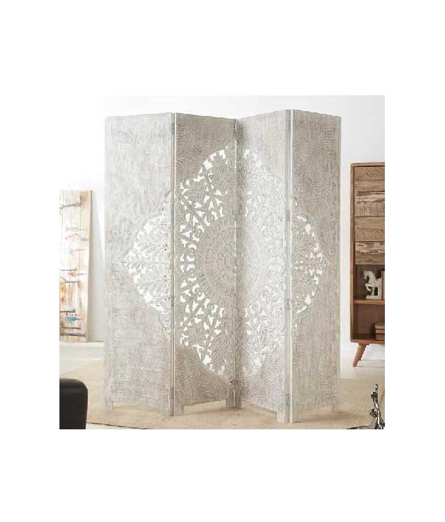 Comprar biombo separador blanco de madera tallada 180 x 182 cm - Separador de madera ...