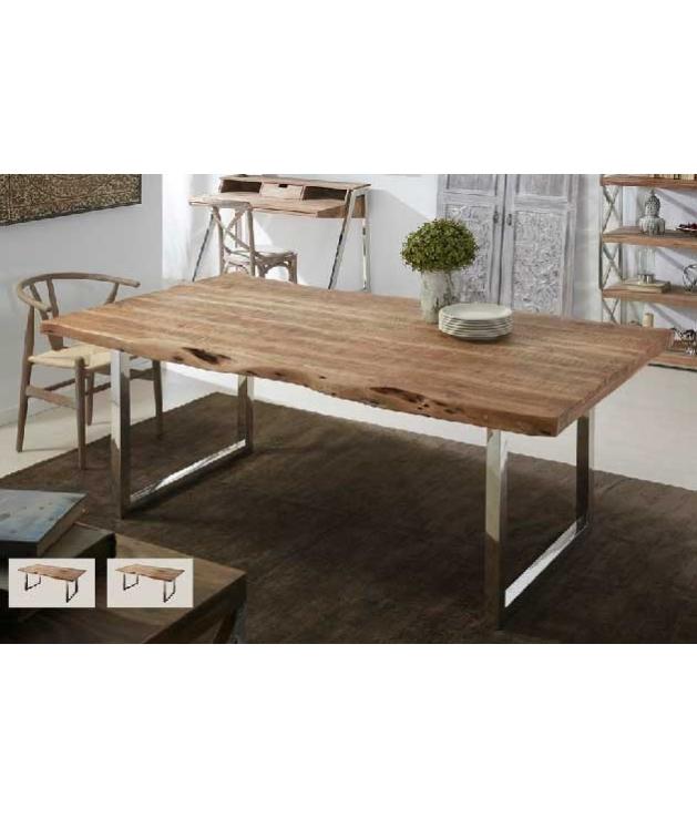 comprar mesa de comedor acero y acacia fija de 180 x 90 x