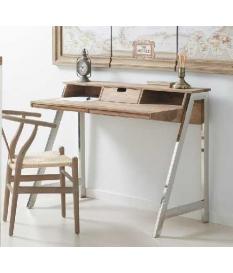 Mesa escritorio acero y palisandro 120x57x90 cm
