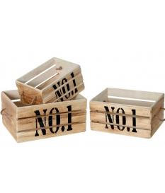 """Set 3 cajas asas madera natural """"no.1"""" 3 medidas"""