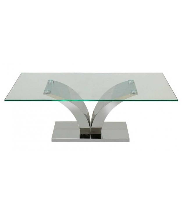 Mesa centro metal cristal 120x60x45 cm