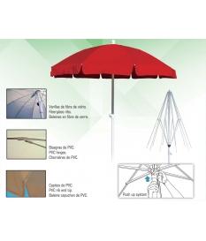 Parasol Aluminio con faldón 2m diámetro