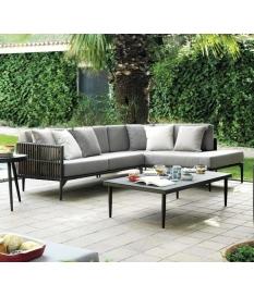 Conjunto jardín sofá chaise longue y mesitas Delta