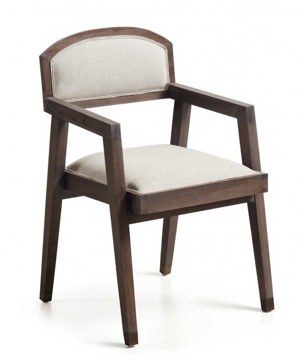 Comprar silla de comedor con brazos spartan tapizada en blanco for Sillas con brazos para cocina
