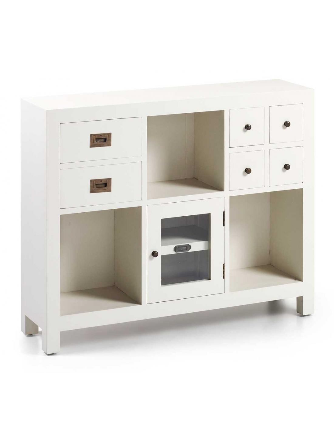 Comprar mueble recibidor new white 6 cajones 1 puerta y 3 for Mueble 6 puertas
