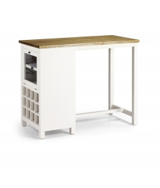 Mueble barra New White blanco y madera con botellero