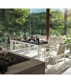 Conjunto jardín White 6 sillas y mesa 160x100 cm