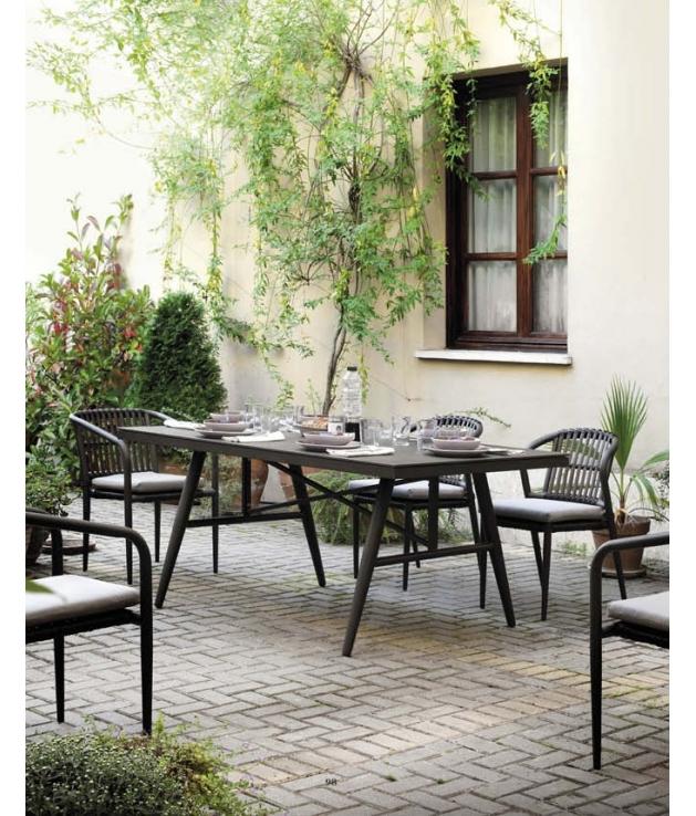 Conjunto jardín Delta 6 sillas y mesa 180x100 cm