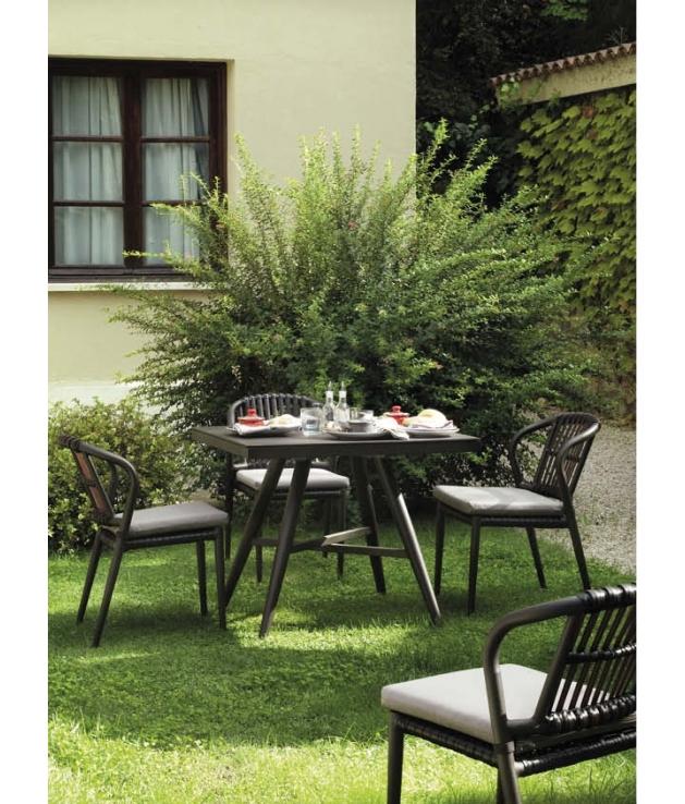 Conjunto jardín Delta sillas y mesa 90x90 cm