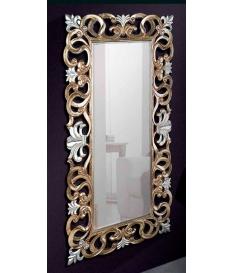 Espejo marco hojas oro viejo y plata