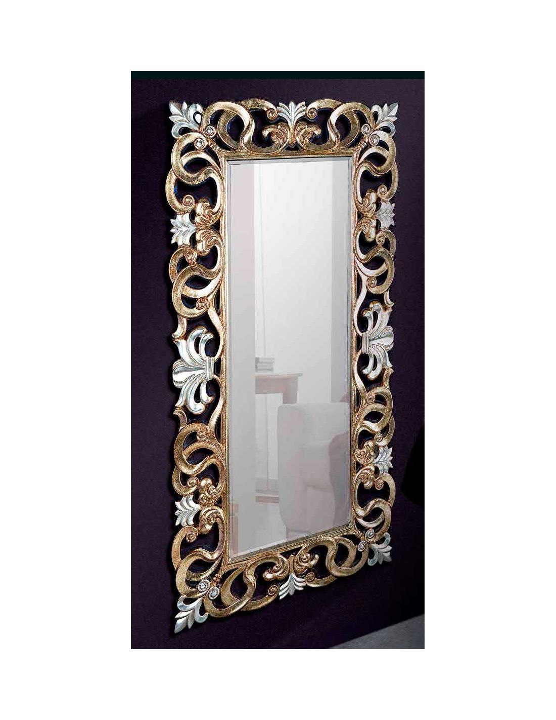 Comprar espejo marco hojas oro viejo y plata for Espejos con marco color plata