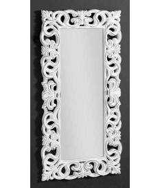 Espejo marco arabescos poliresina blanco decapé