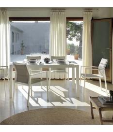 Conjunto jardín Iced White 6 sillas y mesa 160x100 cm