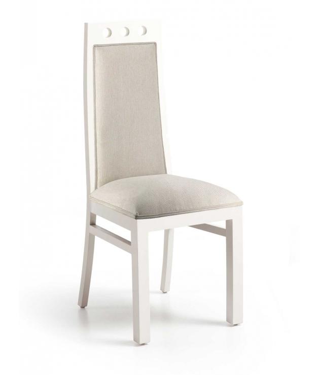 Silla de comedor New White blanca y tapizado beige