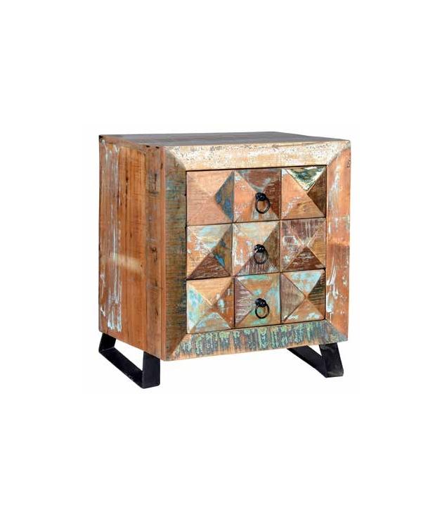 Comprar mesita vintage en madera reciclada con tres cajones for Mesitas de noche 40 cm