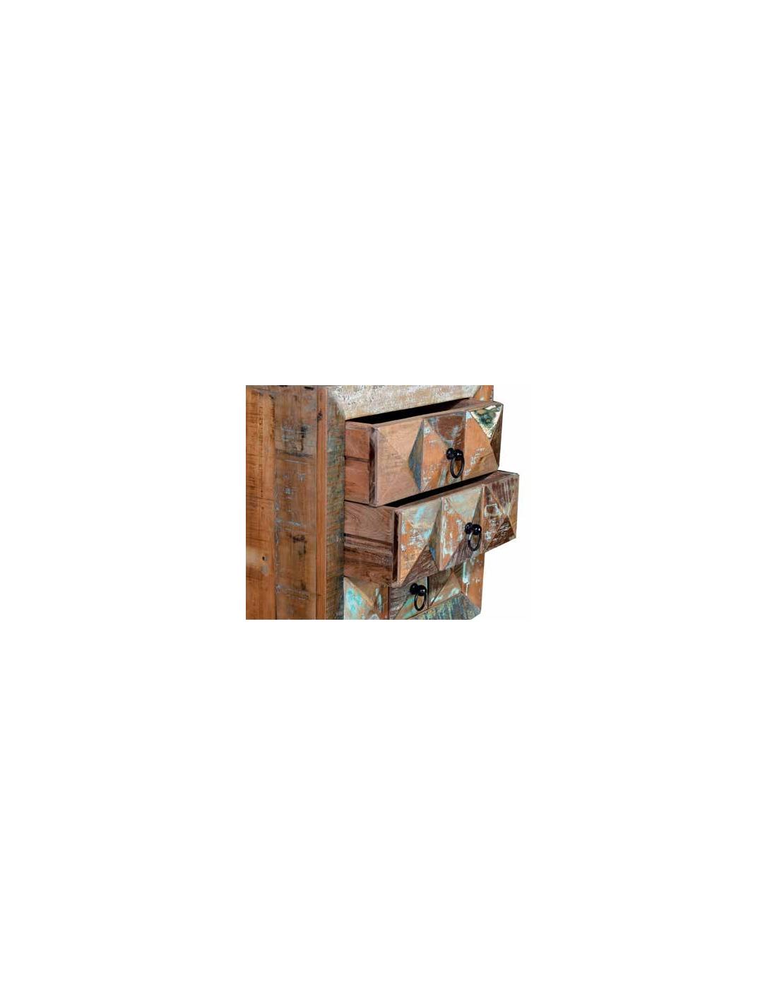 Comprar mesita vintage en madera reciclada con tres cajones - Mesita de noche madera ...