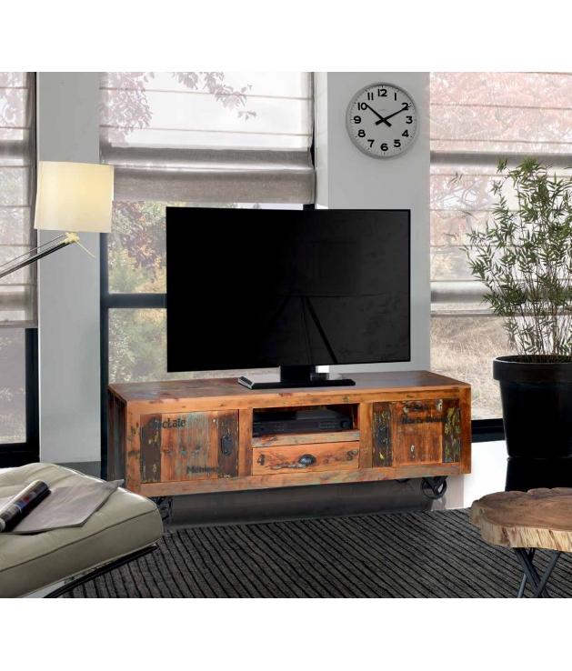 Comprar mueble de tv vintage en madera reciclada con ruedas - Mueble tv con ruedas ...