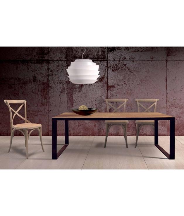 Comprar mesa de comedor vintage en madera de mango macizo y forja - Mesas de comedor de forja ...