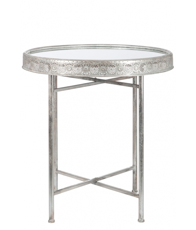Mesa redonda metal cristal