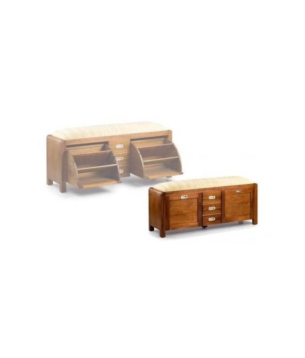 Comprar banco zapatero 2 puertas 3 cajones for Banco zapatero madera