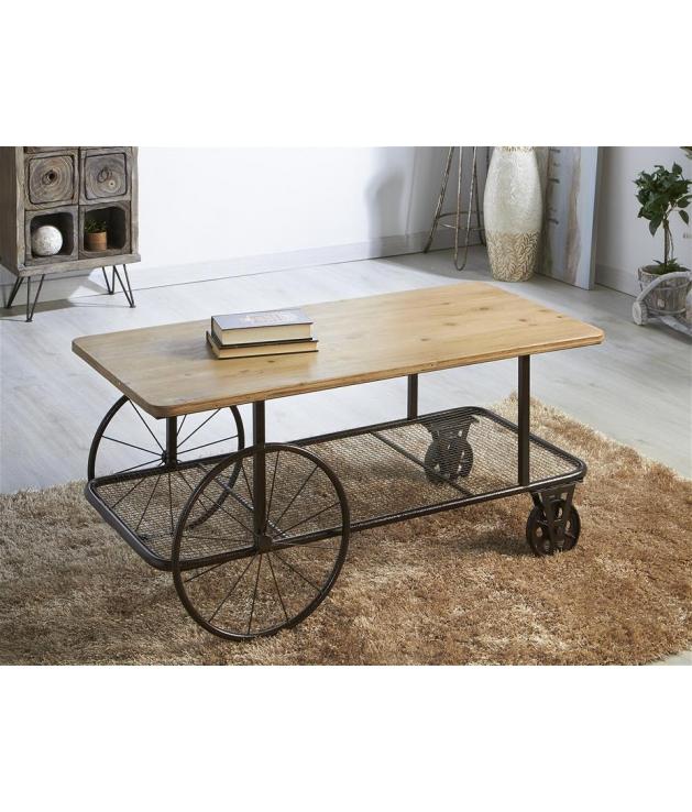 Comprar mesa de centro madera y metal de 110 x 54 x 51 cm for Mesa de centro de metal industrial