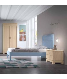 Conjunto juvenil Vega cama, cabecero, mesilla y armario