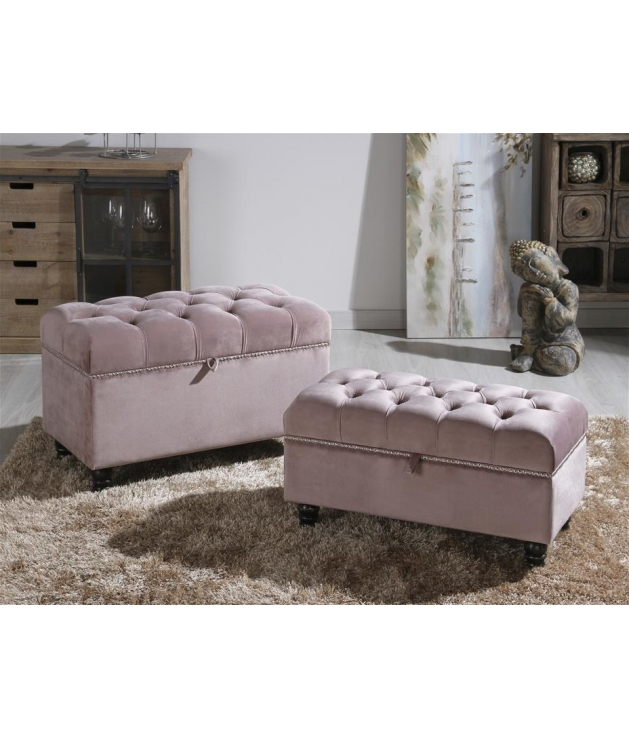 Set dos baúles terciopelo rosa pálido