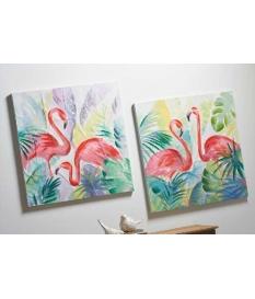 Set dos oleos flamencos 80x80 cm