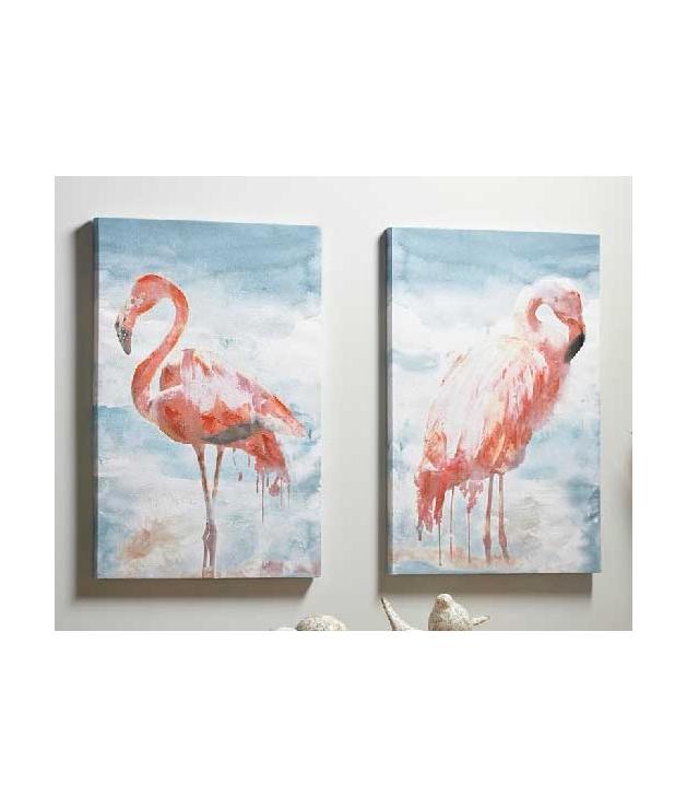 Set dos cuadros impresión papiro flamencos