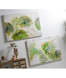Set dos oleos hojas verdes 120 x 80 cm