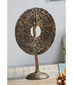 Figura aluminio moneda imitación madera