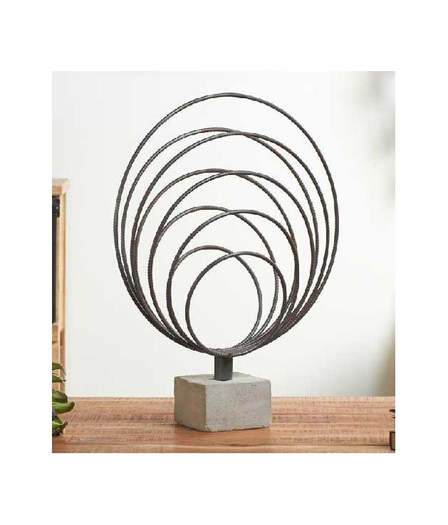 Figura forja círculos plateados 68 cm