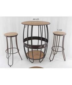 Set de mesa barril AM-420 con dos taburetes