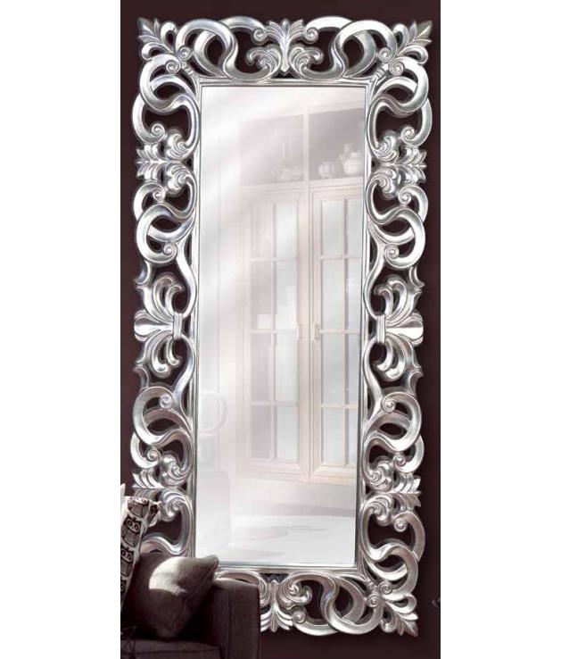 Comprar espejo marco de aluminio dise o arabescos plata vieja for Espejos con marco de madera blanco