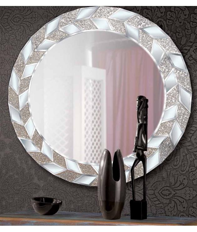 Espejo marco aluminio diseño plumas