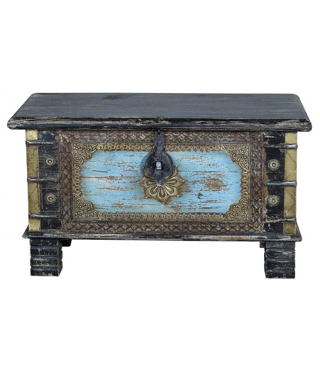 Baúl en madera mango modelo barroco de 80 x 40 x 45 cm