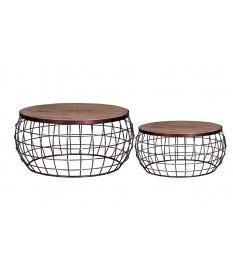 Set de 2 mesas de centro estilo madera mango