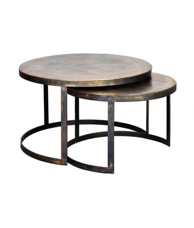 Set dos mesas auxiliares bronce