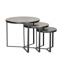 Set tres mesas auxiliares tapa bronce