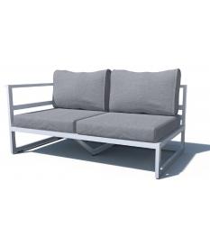 Sofá 2 plazas aluminio sin brazos