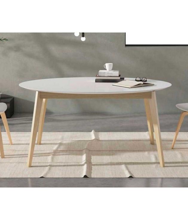 Comprar Mesa de comedor retro ovalada con extensible de 50 cm