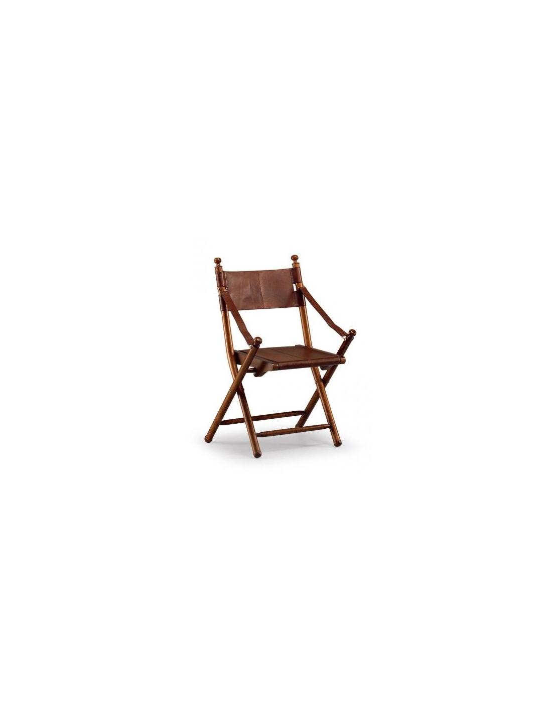 Comprar silla piel tarlton plegable madera y cuero for Silla plegable madera
