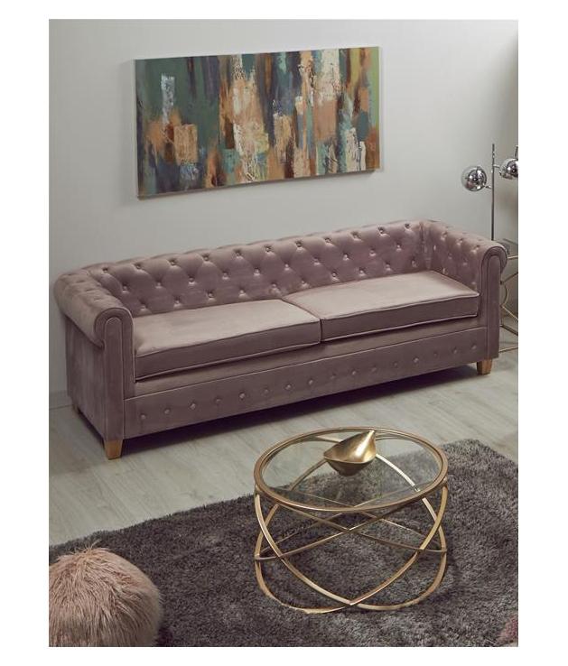 Sofá Chester terciopelo rosa pálido tres plazas
