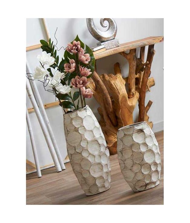 Set dos jarrones decorativos Pleny blancos