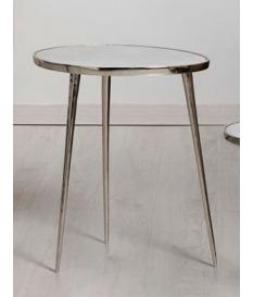 Mesa de rincón oval mármol y aluminio grande