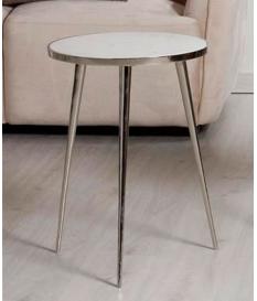 Mesa de rincón redonda mármol y aluminio
