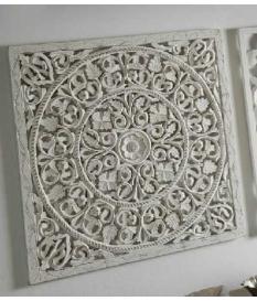 Cuadro panel madera tallado círculos color blanco