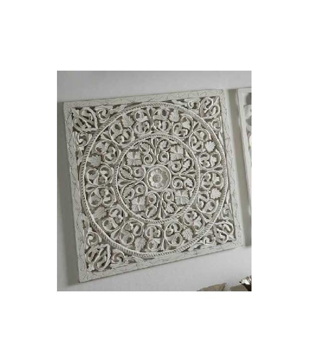 Comprar cuadro panel madera tallado c rculos color blanco - Cuadros de leroy merlin ...